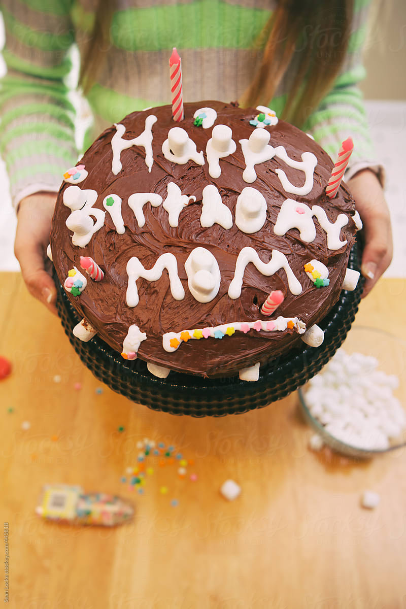 Brilliant Child Makes Happy Birthday Cake For Mom By Sean Locke Stocksy United Personalised Birthday Cards Veneteletsinfo