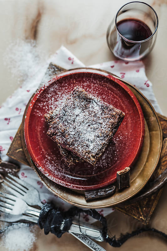 Vegan cake with raspberries by Tatjana Zlatkovic for Stocksy United