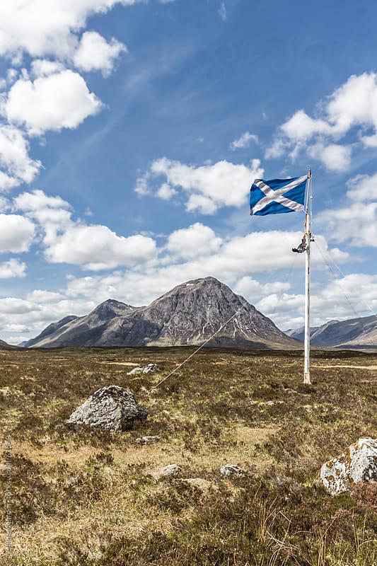 Scottish national flag in the highlands by Leander Nardin for Stocksy United