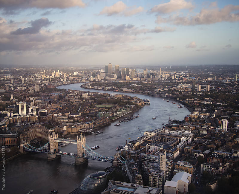 Aerial view of London and the River Thames. England by Travelpix for Stocksy United