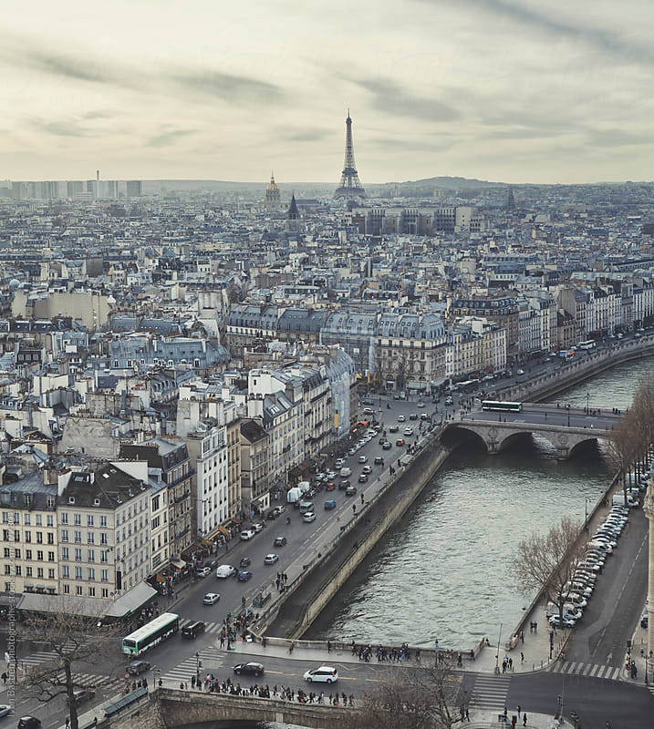 Eiffel Tower and Paris skyline seen from Notre Dame cathedral by Ivan Bastien for Stocksy United