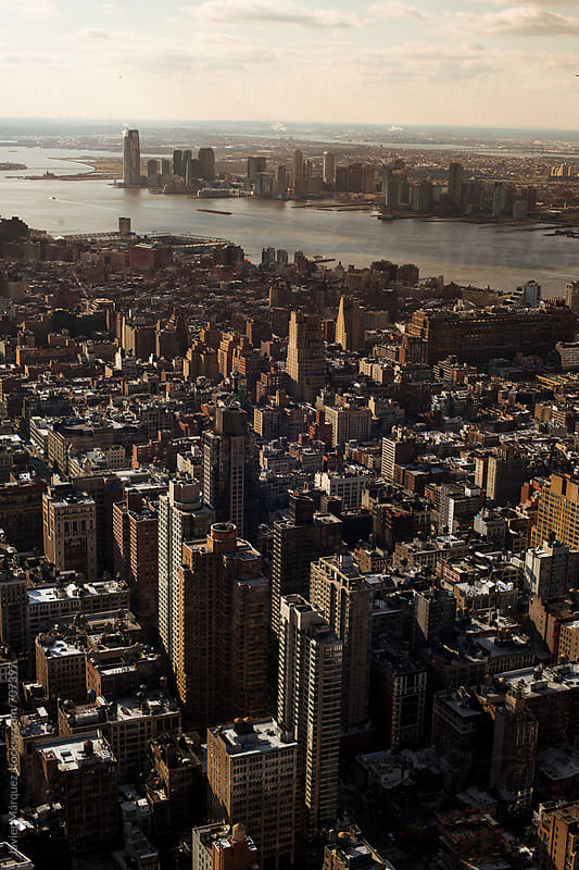 New Jersey view from a Manhattan building by Javier Marquez for Stocksy United