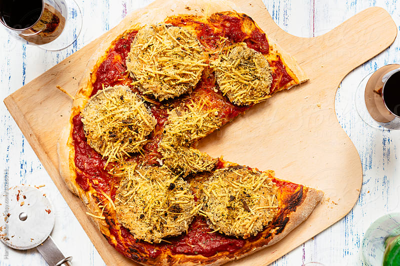 Breaded Eggplant Pizza (vegan) by Harald Walker for Stocksy United