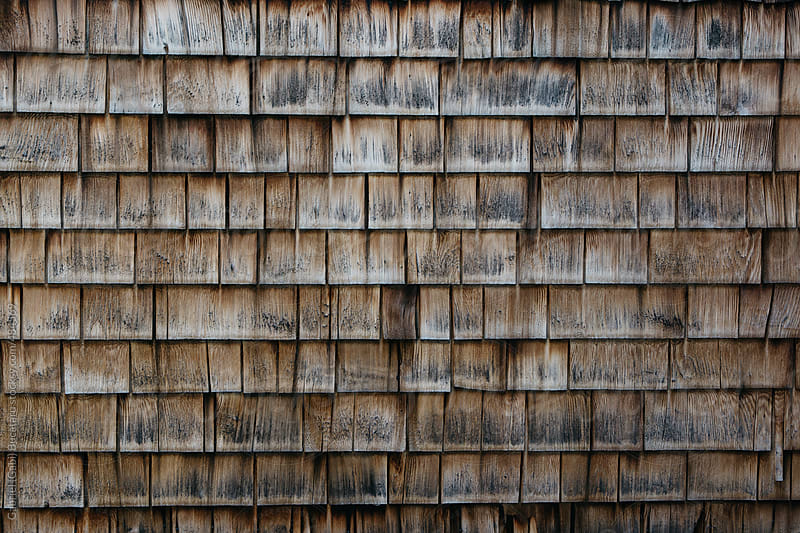 Old wooden shingle texture on a log cabin by Gabriel (Gabi) Bucataru for Stocksy United