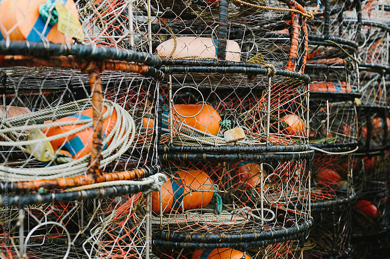 crab pots stacked by Cameron Zegers for Stocksy United