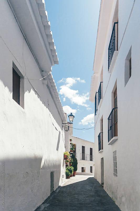 Street of white village by ACALU Studio for Stocksy United