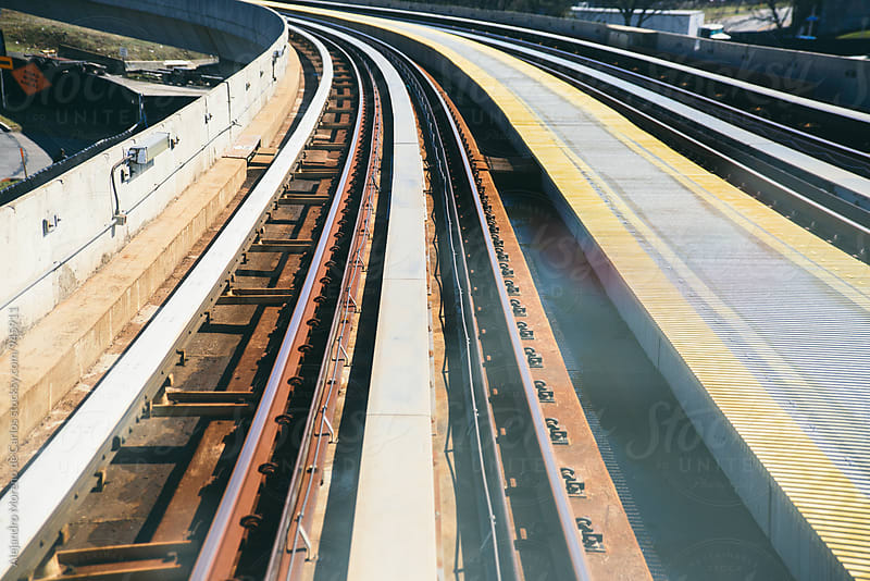 Detail of train tracks - railway by Alejandro Moreno de Carlos for Stocksy United