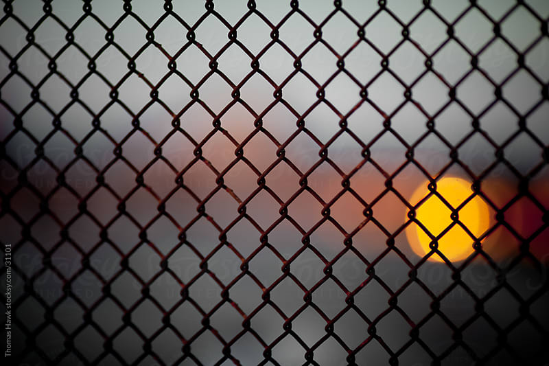 Sunset Through Fence by Thomas Hawk for Stocksy United