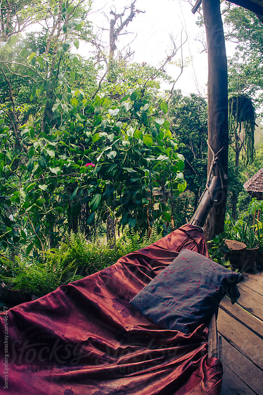Bamboo hammock with red silk cover and blue cushion and view of the jungle by Soren Egeberg for Stocksy United