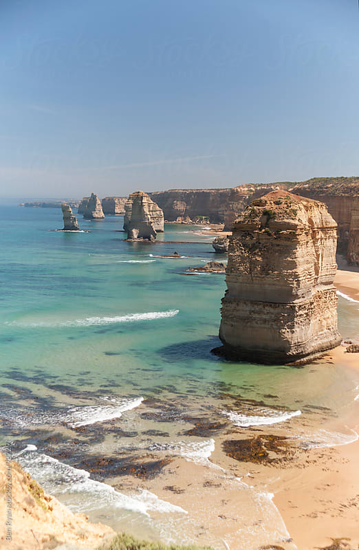 Sandstone islands: The 12 Apostles by Ben Ryan for Stocksy United