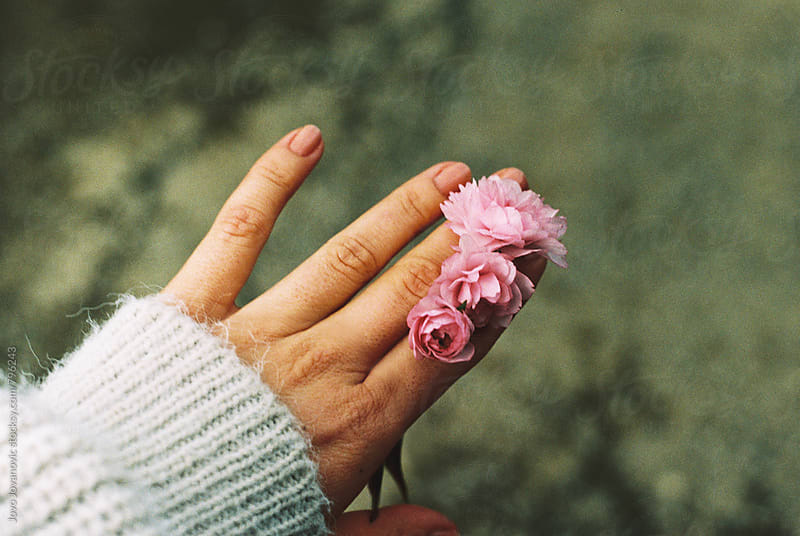 A girl's hand holding small flowers by Jovo Jovanovic for Stocksy United