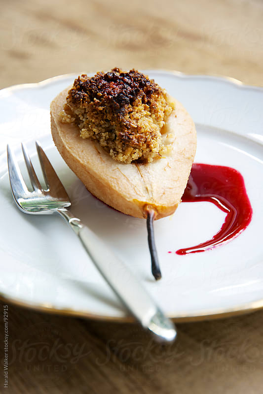 Nut Filled Pears with Elderberry Sauce by Harald Walker for Stocksy United