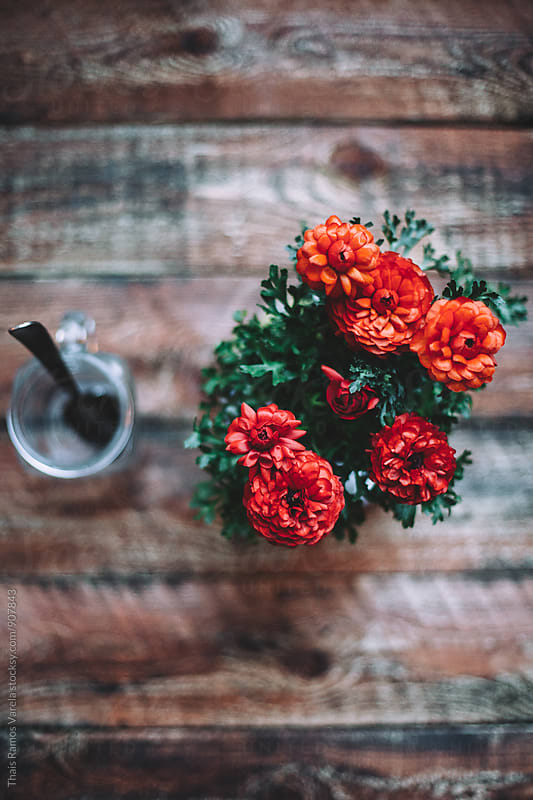 Tablespoon in a jar between red flower  by Thais Ramos Varela for Stocksy United
