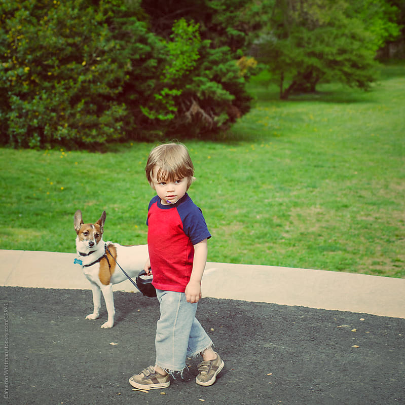 Young Boy and His Dog  by Cameron Whitman for Stocksy United