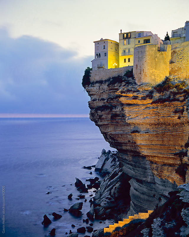 Haute Ville on cliff edge at dawn, Bonifacio, South Corsica, Corsica, France by Gavin Hellier for Stocksy United
