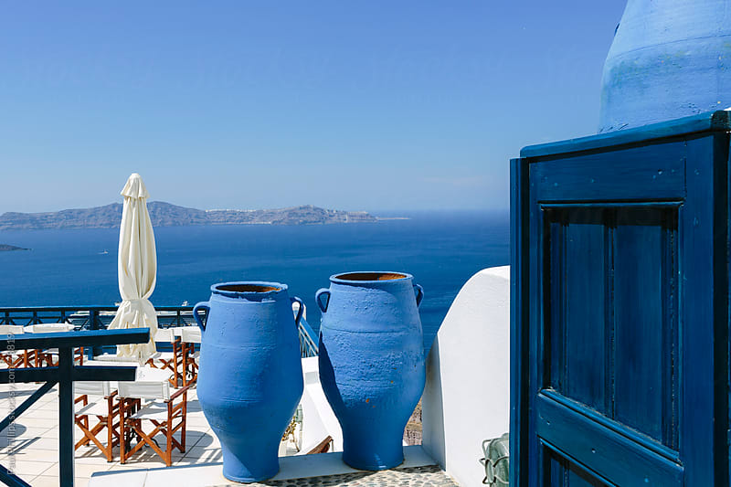 View from a terrace towards the caldera of Santorini Greece by Paul Phillips for Stocksy United