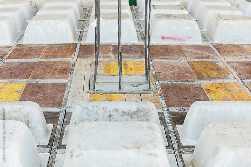 Reinforced concrete slab floor with temporary coffers by Luis Cerdeira for Stocksy United