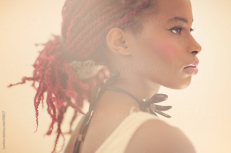 Beautiful African Woman With Pink Dreadlocks by Lumina for Stocksy United