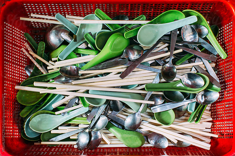 Clean Spoons and Chopsticks in Red Basket by VISUALSPECTRUM for Stocksy United