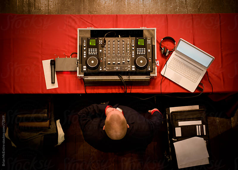 Birds Eye View of a DJ with Contemporary Equipment by Brian McEntire for Stocksy United