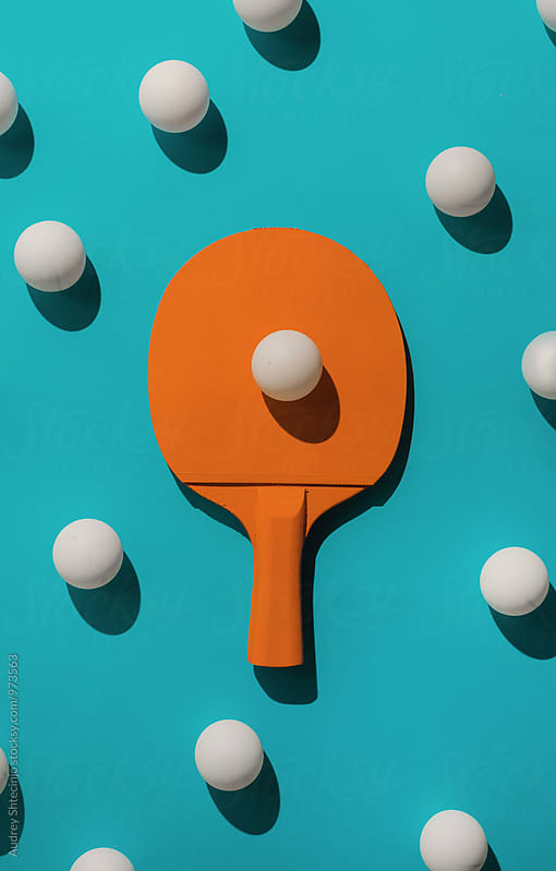 ping pong rocket with ping pong balls by Marko Milanovic for Stocksy United