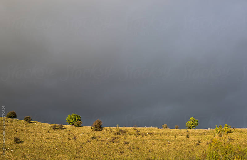 Stormy grey sky against a sunlit hilltop by Jon Attaway for Stocksy United