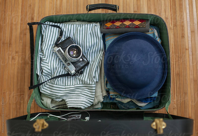 Overhead View of a Suitcase by Mosuno for Stocksy United