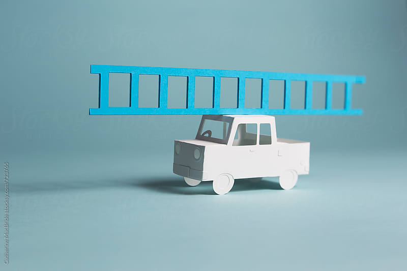 Paper truck with ladder :) by Catherine MacBride for Stocksy United