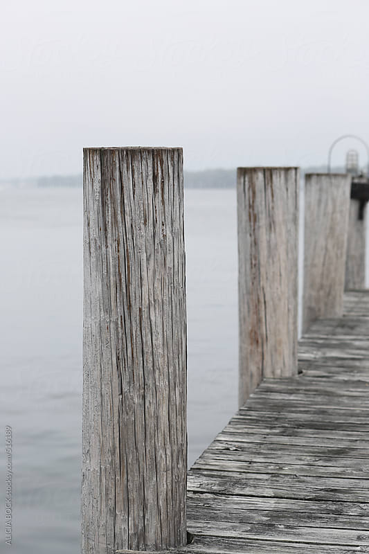 A Worn Dock On A Foggy Day by ALICIA BOCK for Stocksy United