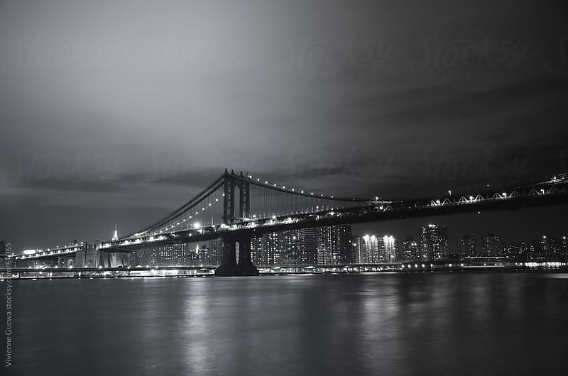 Manhattan Bridge - Night - New York City by Vivienne Gucwa for Stocksy United