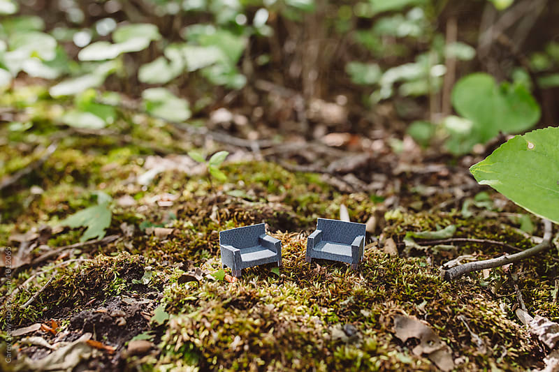 Tiny paper chairs in secluded forest by Carey Shaw for Stocksy United