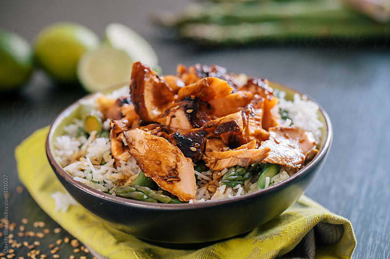 Basmati rice with asparagus and salmon teriyaki by Davide Illini for Stocksy United