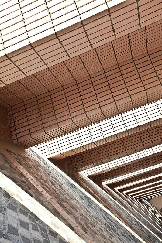 Rectangular  perspectiv  stereo corridor at sunlight by Wenhai Tang for Stocksy United