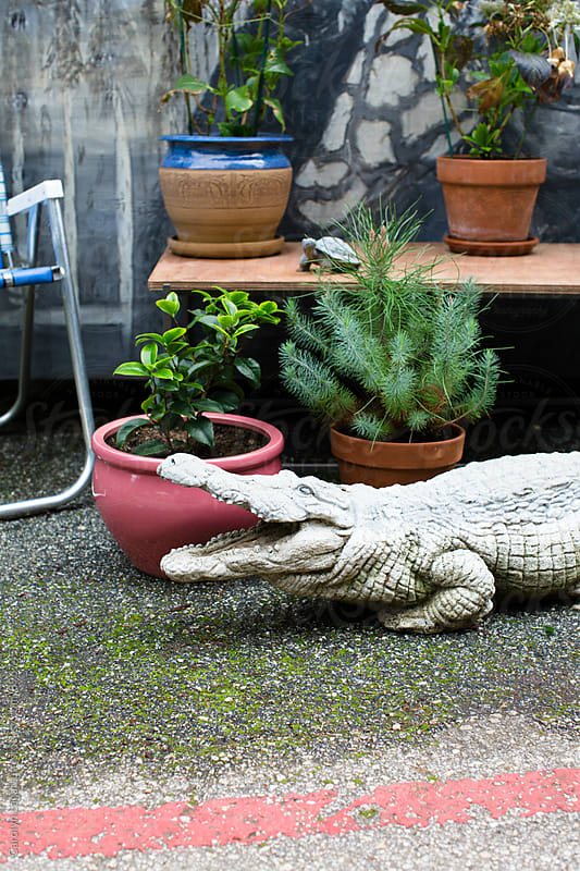 Plastic dinosaur on a patio outside by Carolyn Lagattuta for Stocksy United