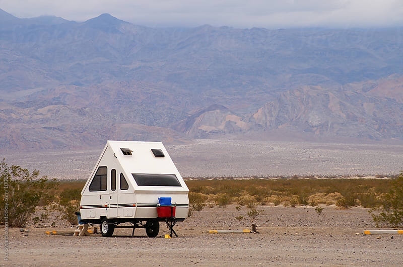 Small camper trailer in death valley by Per Swantesson for Stocksy United