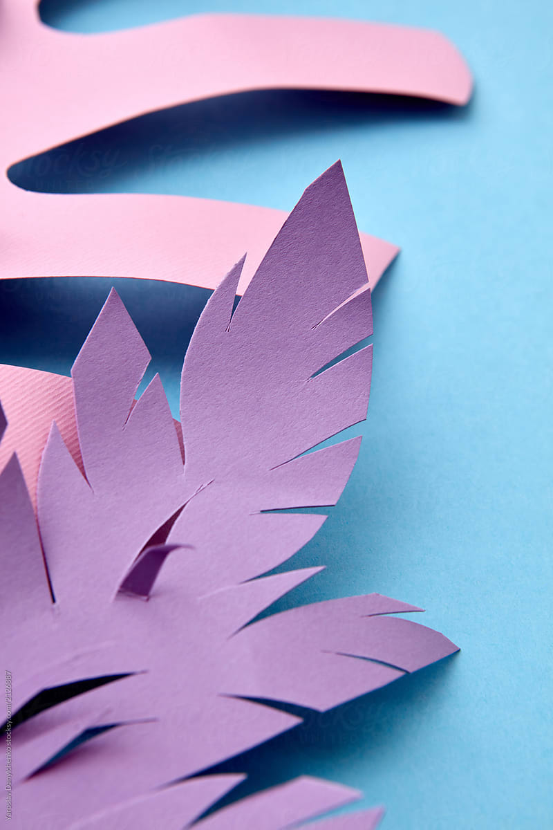 Colorful Craft Tropical Leaves From Paper For Home Decor On Blue