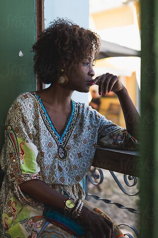 Brazil. Portrait of a Brazilian Woman  in a Bar by Mauro Grigollo for Stocksy United