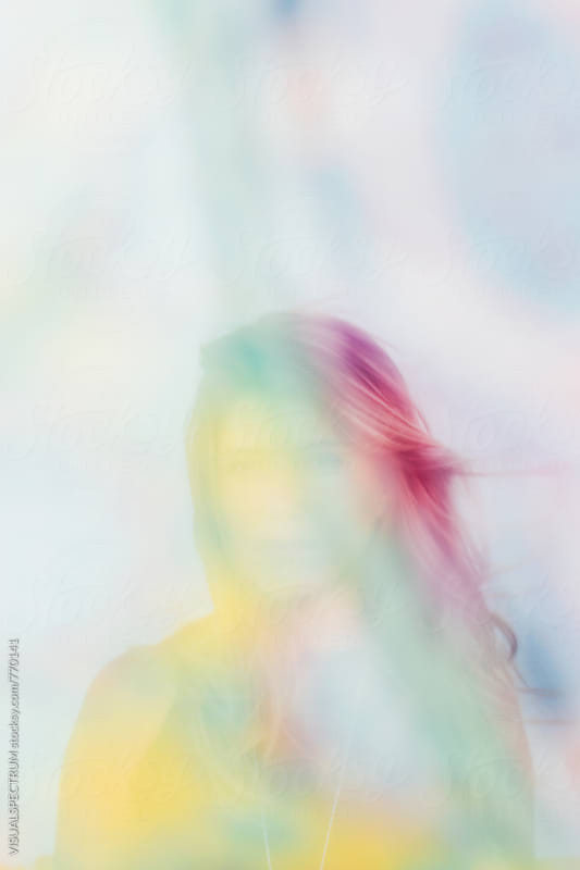 Dreamy Portrait of Pretty Blonde Through Colorful Veil by VISUALSPECTRUM for Stocksy United