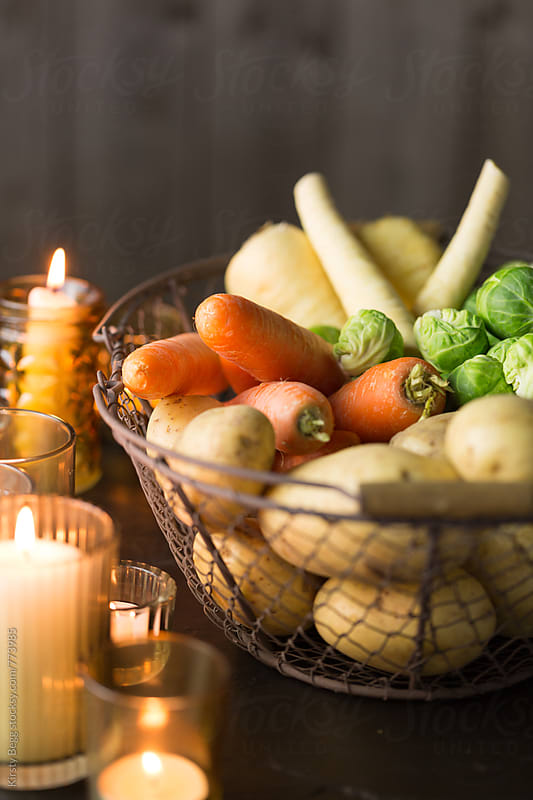 Selection of winter vegetables, fresh and uncooked by Kirsty Begg for Stocksy United