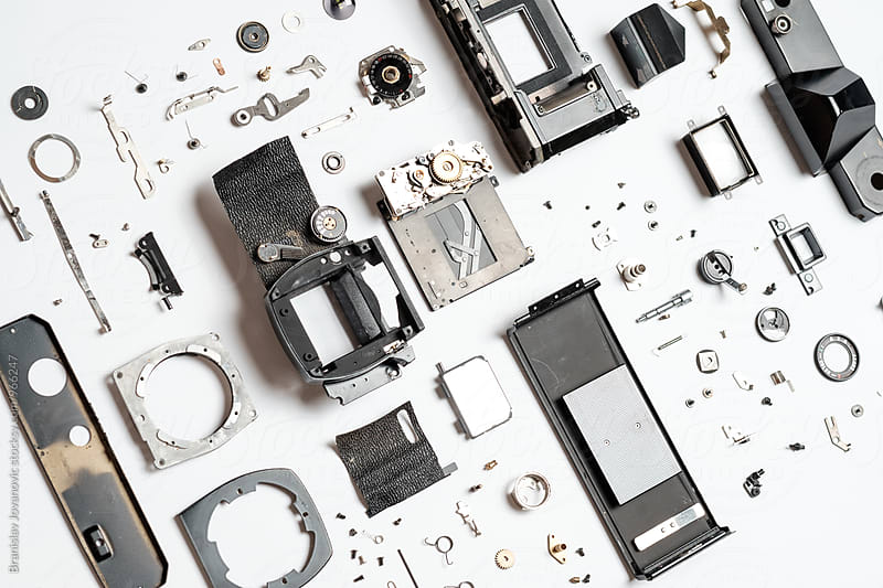 Neatly Organized Parts of Analog Camera by Branislav Jovanović for Stocksy United