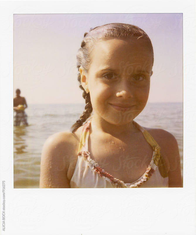 Polaroid Portrait Of A Girl At The Beach On A Summer Day by ALICIA BOCK for Stocksy United