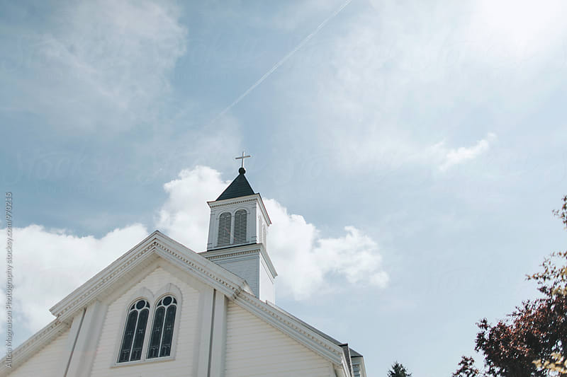 White Church Steeple on Sunny Day by Alicia Magnuson Photography for Stocksy United