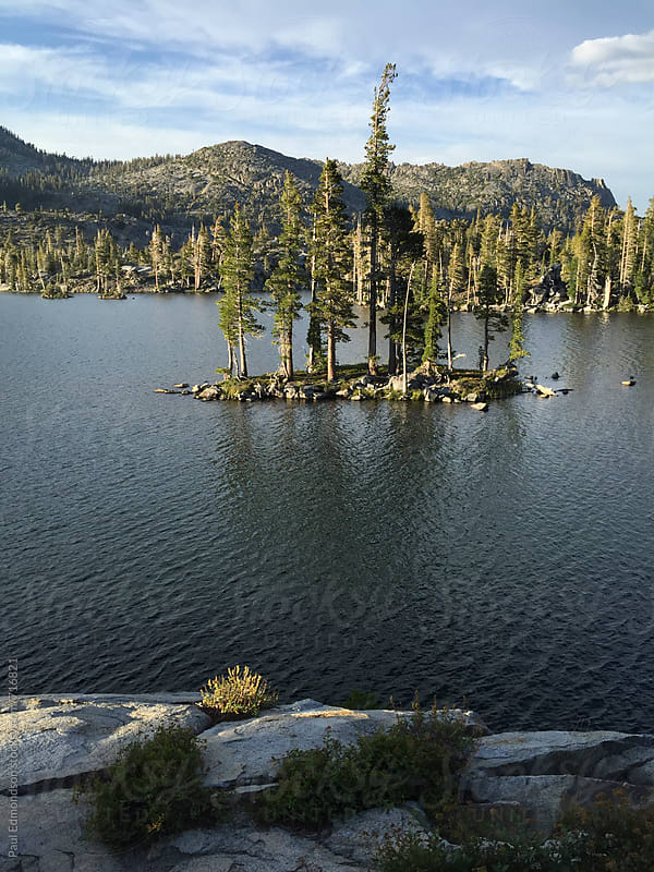 Pristine alpine lake at dusk, Desolation Wilderness, CA, USA by Paul Edmondson for Stocksy United