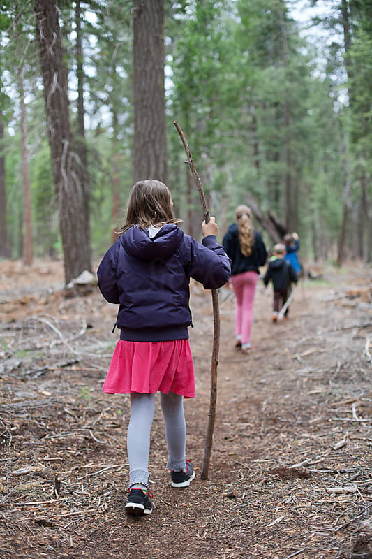 Four kids hiking on the Pacifc Crest Trail by Carleton Photography for Stocksy United