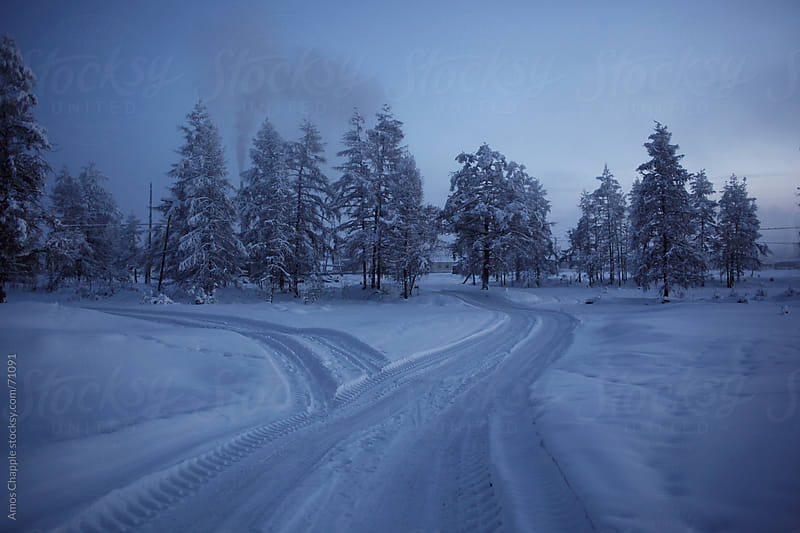 A road winding through deep snow in Siberia by Amos Chapple for Stocksy United