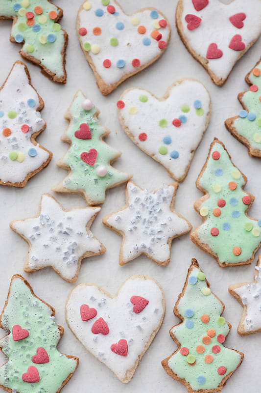 Food: colorful homemade christmas cookies by Ina Peters for Stocksy United