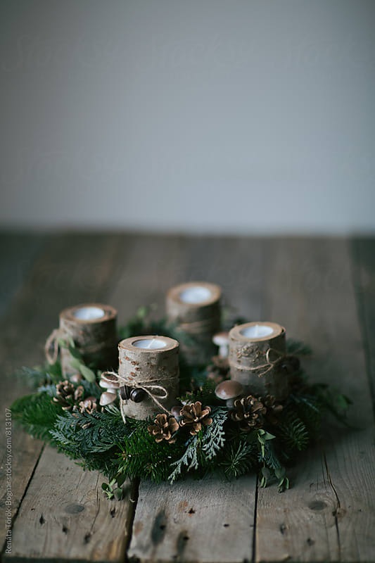 Rustic advent wreath by Török-Bognár Renáta for Stocksy United