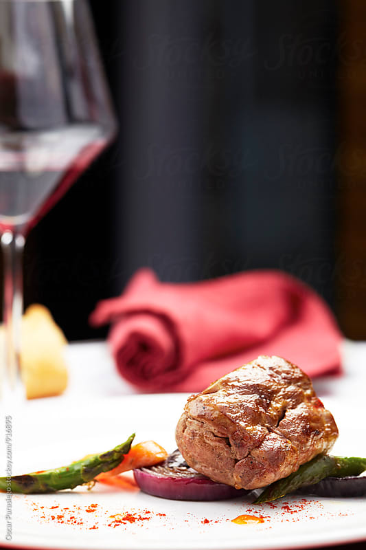 Sirloin with vegetables and paprika by Oscar Parasiego for Stocksy United