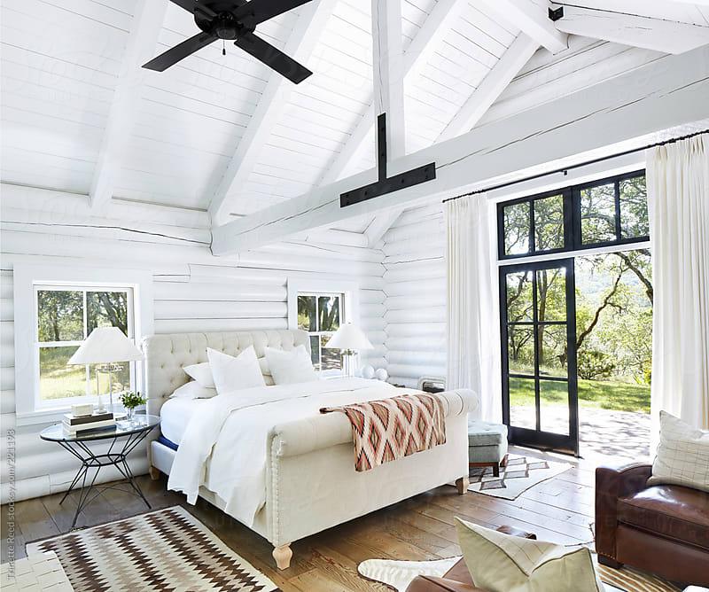 Bedroom In Modern Design Log Cabin By Trinette Reed Stocksy United