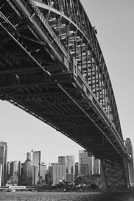 Sydney Harbour Bridge Black And White by Adrian Young for Stocksy United